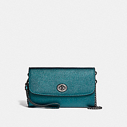 COACH F22828 - CHAIN CROSSBODY BLACK ANTIQUE NICKEL/METALLIC DARK TEAL