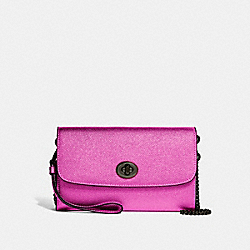 COACH F22828 Chain Crossbody METALLIC CERISE/BLACK ANTIQUE NICKEL