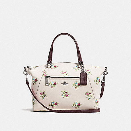 COACH f22829 PRAIRIE SATCHEL WITH CROSS STITCH FLORAL PRINT CHALK CROSS STITCH FLORAL/DARK GUNMETAL