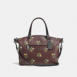 COACH F22829 - PRAIRIE SATCHEL WITH CROSS STITCH FLORAL PRINT DK/OXBLOOD CROSS STITCH FLORAL