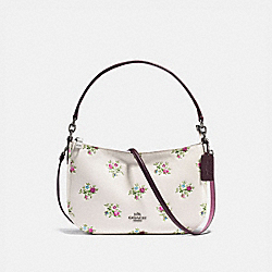 CHELSEA CROSSBODY WITH CROSS STITCH FLORAL PRINT - f22830 - CHALK CROSS STITCH FLORAL/DARK GUNMETAL