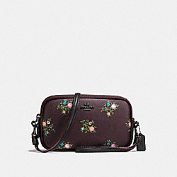 CROSSBODY CLUTCH WITH CROSS STITCH FLORAL PRINT - f22836 - DARK GUNMETAL/OXBLOOD CROSS STITCH FLORAL