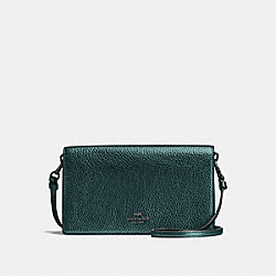 COACH F22851 Foldover Crossbody Clutch METALLIC IVY/DARK GUNMETAL