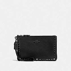 COACH F22866 Small Wristlet With Prairie Rivets BP/BLACK