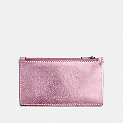 COACH F22879 Zip Card Case METALLIC BLUSH/PRIMROSE