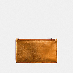 COACH F22879 - ZIP CARD CASE METALLIC ORANGE/GIFTING ORANGE