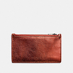 COACH F22879 Zip Card Case METALLIC BRICK/VERMILLION