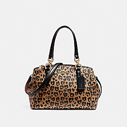 MINI CHRISTIE CARRYALL WITH WILD HEART PRINT - f22889 - LIGHT GOLD/NATURAL MULTI