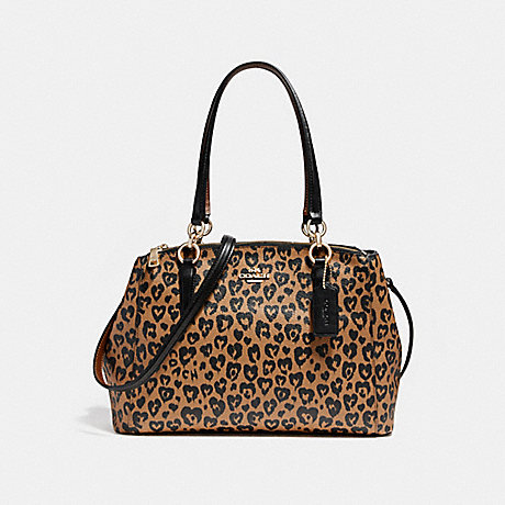 COACH f22890 SMALL CHRISTIE CARRYALL WITH WILD HEART PRINT LIGHT GOLD/NATURAL MULTI