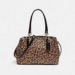 SMALL CHRISTIE CARRYALL WITH WILD HEART PRINT - f22890 - LIGHT GOLD/NATURAL MULTI