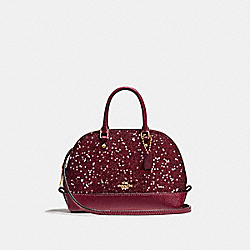 MICRO MINI SIERRA SATCHEL WITH STAR GLITTER - f22891 - LIGHT GOLD/CRIMSON
