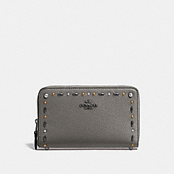 COACH F22892 - MEDIUM ZIP AROUND WALLET WITH PRAIRIE RIVETS DETAIL HEATHER GREY/DARK GUNMETAL