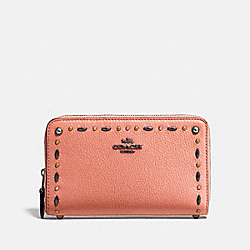 COACH F22892 Medium Zip Around Wallet With Prairie Rivets Detail MELON/DARK GUNMETAL