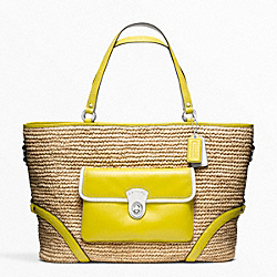 STRAW POCKET LARGE TOTE - f22903 - SILVER/NATURAL/LIME