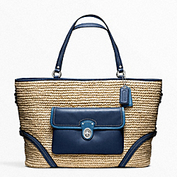 COACH F22903 Straw Pocket Large Tote SILVER/NATURAL/NAVY