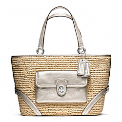 COACH F22904 Straw Pocket Tote SILVER/NATURAL/GOLD