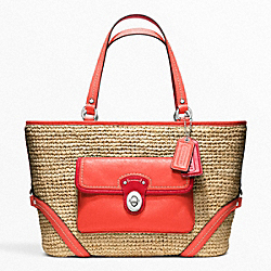 COACH F22904 Straw Pocket Tote SILVER/NATURAL/TANGERINE