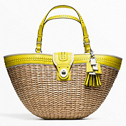 COACH F22905 - STRAW EDITORIAL XL TOTE SILVER/NATURAL/LIME