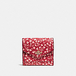 SMALL WALLET WITH LOVE LEAF PRINT - F22928 - LOVE LEAF/LIGHT GOLD