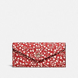 COACH F22929 - SOFT WALLET WITH LOVE LEAF PRINT LOVE LEAF/LIGHT GOLD