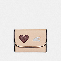 COACH F22955 Card Pouch With Glitter Heart LIGHT GOLD/MULTICOLOR 1
