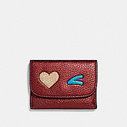 COACH F22955 - CARD POUCH WITH GLITTER HEART MULTICOLOR 1/LIGHT GOLD