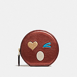 ROUND COIN CASE WITH GLITTER HEART - f22958 - LIGHT GOLD/MULTICOLOR 1