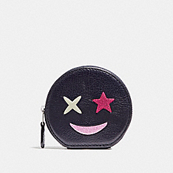 COACH F22959 Round Coin Case With Glitter Star SILVER/MULTICOLOR 1