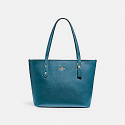 MINI CITY ZIP TOTE - f22967 - LIGHT GOLD/DARK TEAL