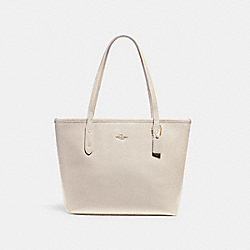 MINI CITY ZIP TOTE - f22967 - LIGHT GOLD/CHALK