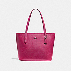 MINI CITY ZIP TOTE - f22967 - SILVER/HOT PINK