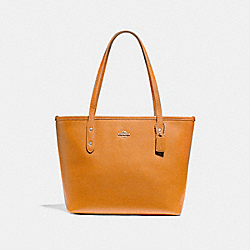 MINI CITY ZIP TOTE - f22967 - SILVER/TANGERINE