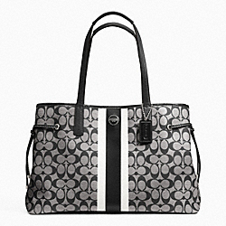 COACH F23049 - SIGNATURE STRIPE PVC LARGE CARRYALL SILVER/BLACK/WHITE/BLACK