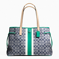 COACH F23049 - SIGNATURE STRIPE PVC LARGE CARRYALL SILVER/NAVY/BRIGHT JADE