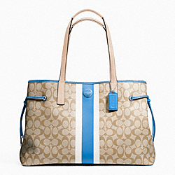 COACH F23049 - SIGNATURE STRIPE PVC LARGE CARRYALL SILVER/LT KHAKI/BRIGHT SKY