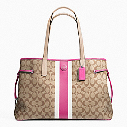 COACH F23049 - SIGNATURE STRIPE PVC LARGE CARRYALL SILVER/KHAKI/MULBERRY