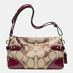 COLETTE EAST/WEST SHOULDER BAG IN SIGNATURE FABRIC - f23072 - BRASS/KHAKI/CRIMSON