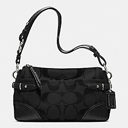 COLETTE EAST/WEST SHOULDER BAG IN SIGNATURE FABRIC - f23072 - SILVER/BLACK
