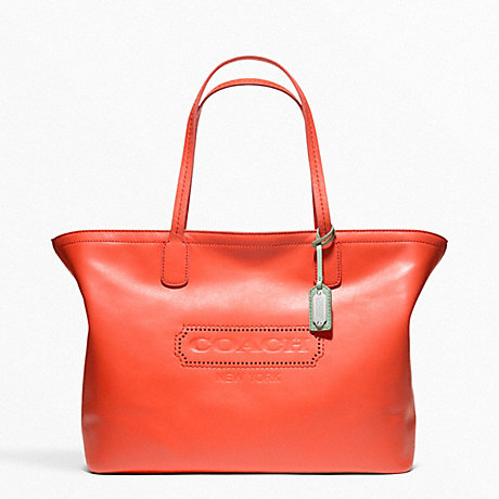 COACH F23105 WEEKEND LEATHER ZIP TOP TOTE SILVER/CORAL
