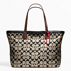 COACH F23107 Weekend Printed Signature Zip Top Tote SILVER/KHAKI/BLACK