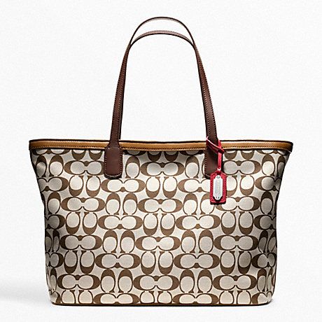 COACH F23107 WEEKEND PRINTED SIGNATURE ZIP TOP TOTE SILVER/CORAL