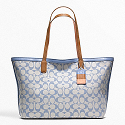 WEEKEND PRINTED SIGNATURE ZIP TOP TOTE - f23107 - SILVER/GREY CHAMBRAY