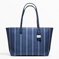 COACH F23108 - WEEKEND TICKING STRIPE ZIP TOP TOTE SILVER/NAVY