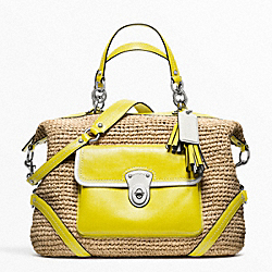 COACH F23181 Straw Satchel SILVER/NATURAL/LIME