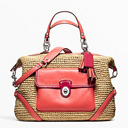COACH F23181 Straw Satchel SILVER/NATURAL/TANGERINE