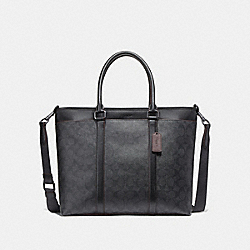 COACH F23211 - PERRY BUSINESS TOTE IN SIGNATURE CANVAS JI/BLACK/BLACK/OXBLOOD