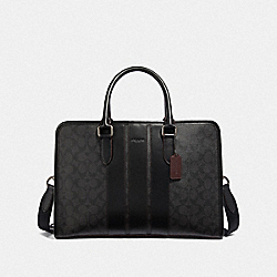 COACH F23212 - BOND BRIEF IN SIGNATURE CANVAS BLACK/BLACK/OXBLOOD/BLACK COPPER FINISH