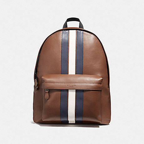 COACH f23214 CHARLES BACKPACK WITH VARSITY STRIPE SADDLE/MIDNIGHT NVY/CHALK/BLACK ANTIQUE NICKEL
