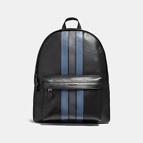 COACH f23214 CHARLES BACKPACK WITH VARSITY STRIPE BLACK/DENIM/MIDNIGHT NVY/BLACK ANTIQUE NICKEL