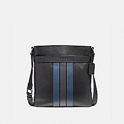 CHARLES CROSSBODY WITH VARSITY STRIPE - f23216 - BLACK/DENIM/MIDNIGHT NVY/BLACK ANTIQUE NICKEL